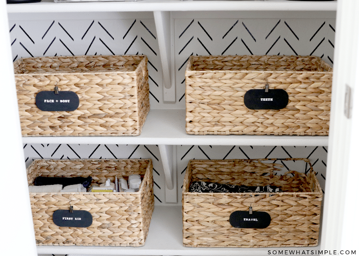 baskets with labels