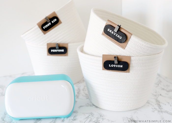 baskets with labels for the bathroom