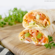 buffalo chicken wraps cut in half and stacked on top of each other