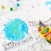 earth day craft with tissue paper and crayons