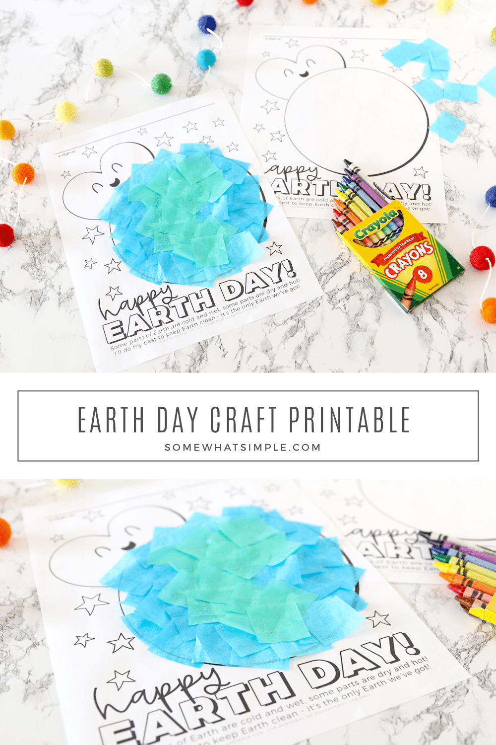 Celebrate Earth Day at home or in the classroom with a colorful Earth Day craft that's easy to do and so much fun for the kids! via @somewhatsimple