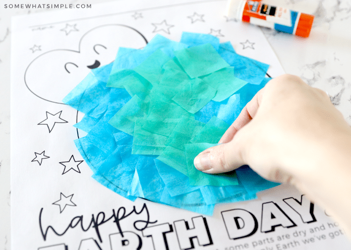 putting tissue paper on a earth printable