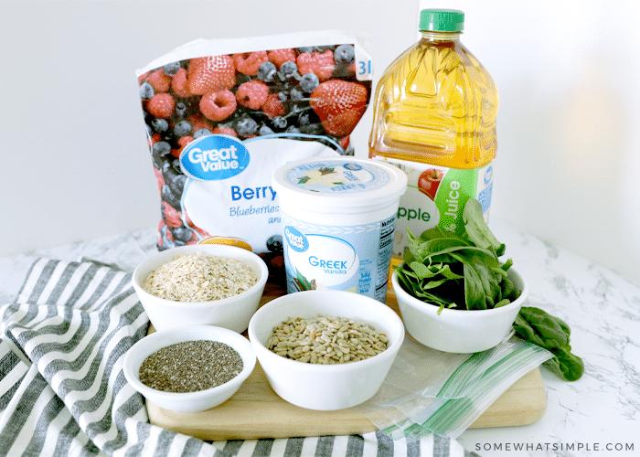 ingredients for breakfast smoothies