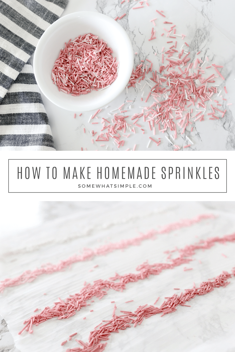 Learn how to make homemade sprinkles for all your baked goods with this tasty recipe and simple tutorial! via @somewhatsimple