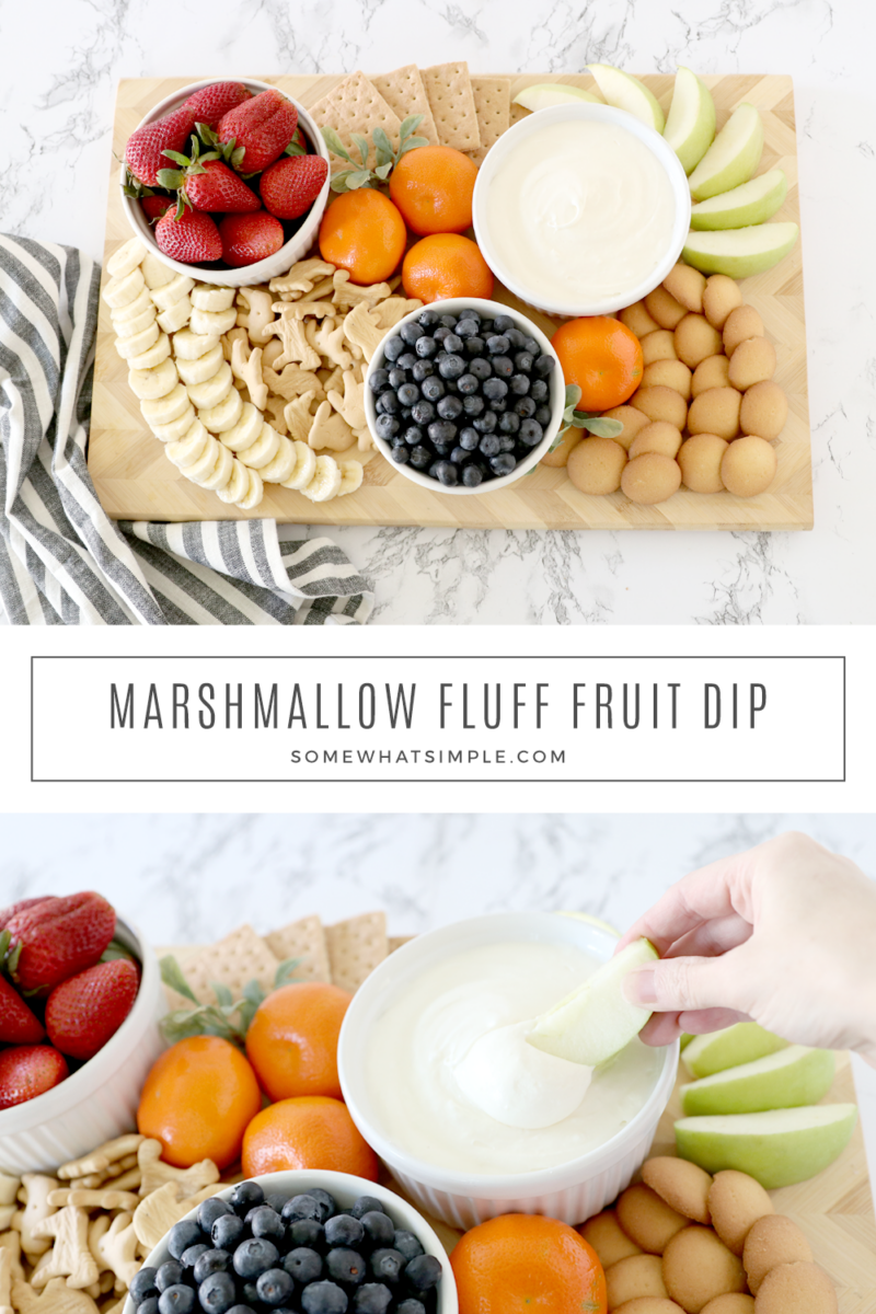 collage of marshmallow fluff fruit dip