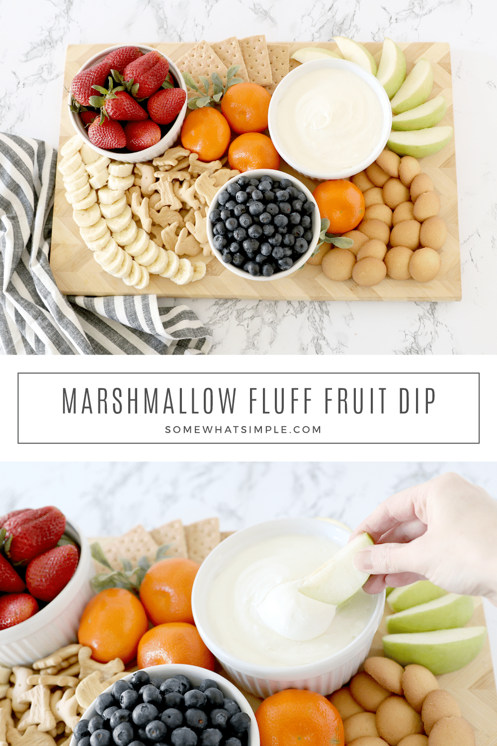 3 Ingredient Marshmallow Fluff Fruit Dip is simple to make, totally delicious, and will please a crowd! via @somewhatsimple