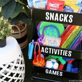 portable cart with toys and snacks for an outdoor play station