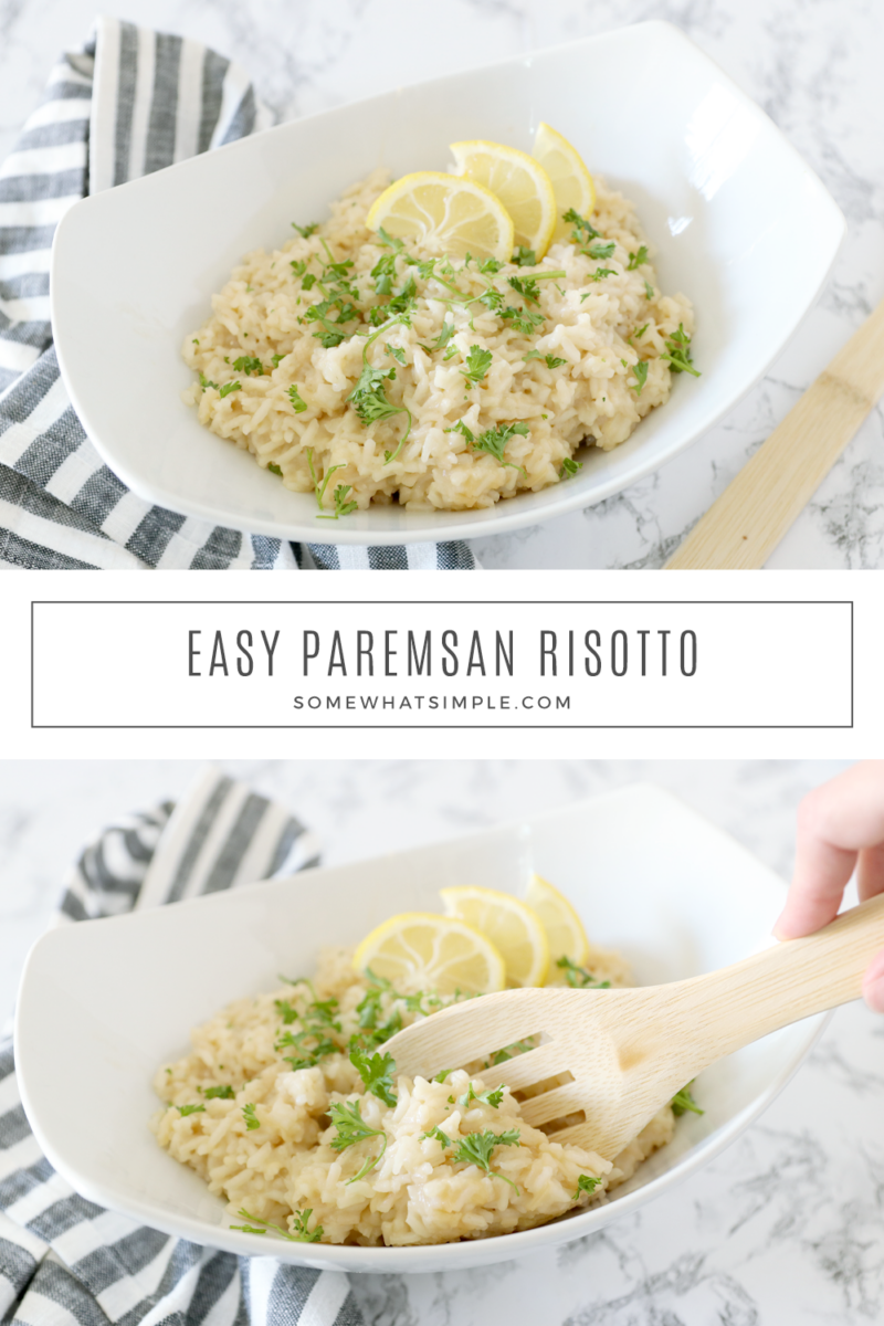 collage of pictures of parmesan risotto