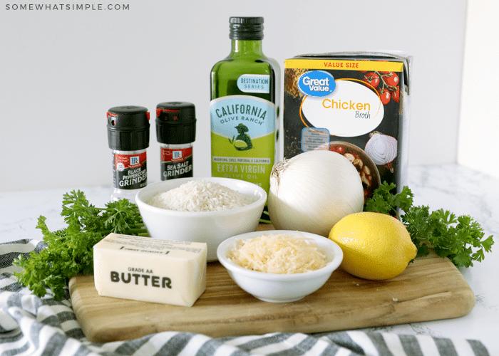 ingredients to make parmesan risotto