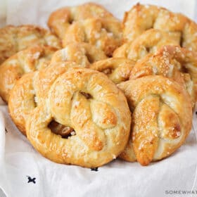 basket of sourdough pretzels