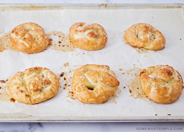 baked pretzels brushed with melted butter