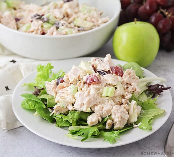 waldorf chicken salad on a white plate