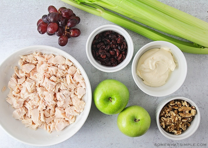 bowls of chicken grapes walnuts and apples