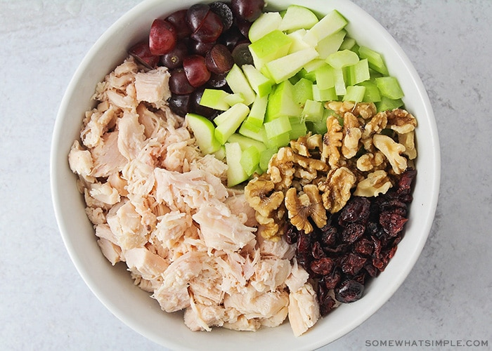 bowl of chicken salad with nutds, cranberries and green apples