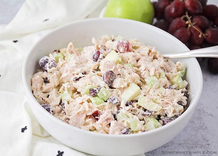 waldorf chicken salad in a white bowl