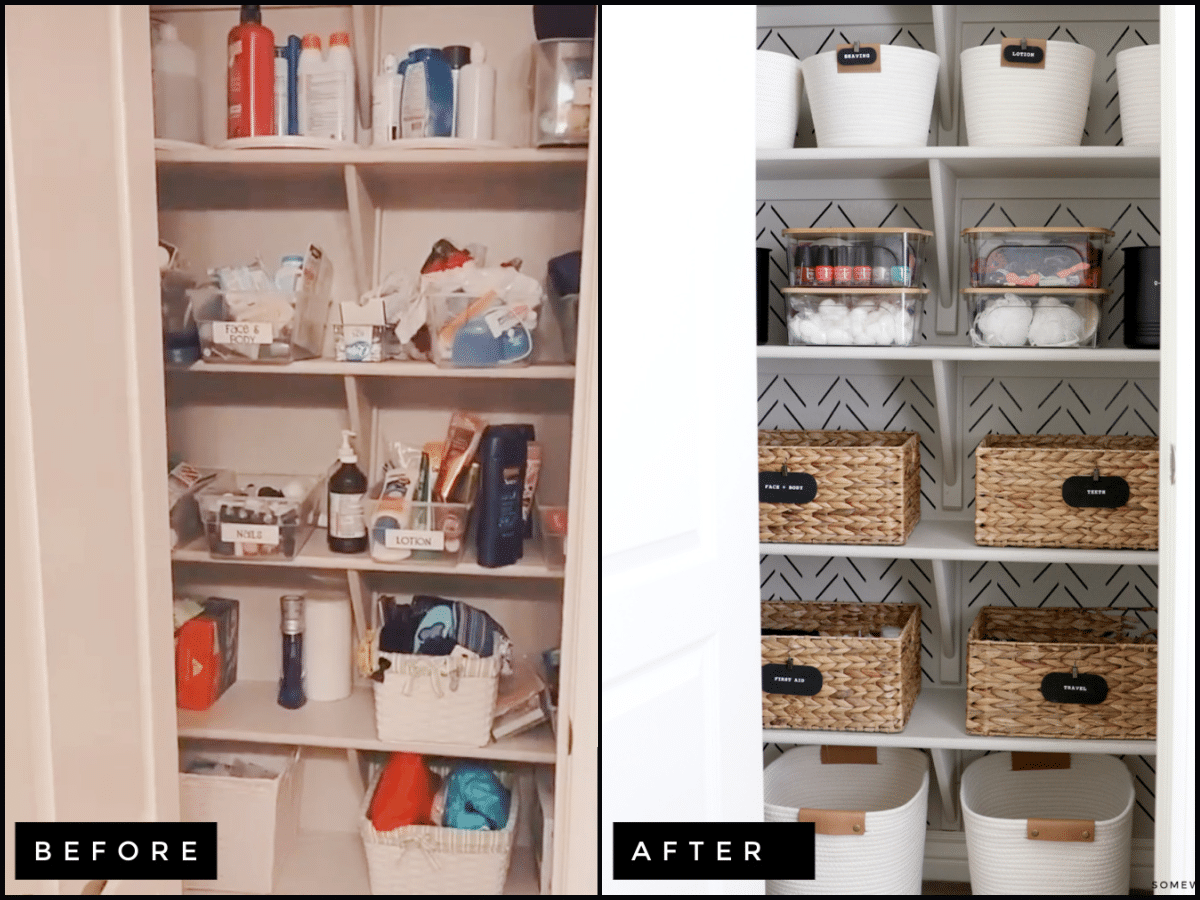 bathroom storage closet before and after