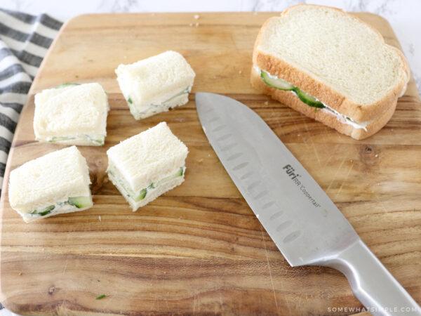 cutting off crust on sandwiches