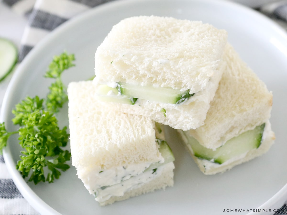 soft white bread made into cucumber sandwiches