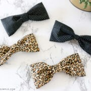 fabric hair bows on a white counter
