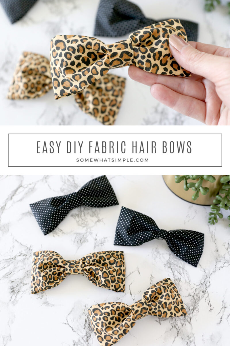 collage of images showing how to make a fabric hair bow