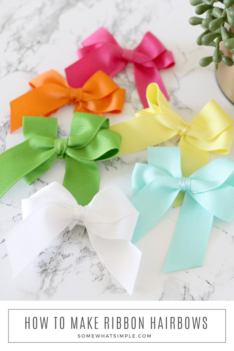 colorful hair bows on the counter