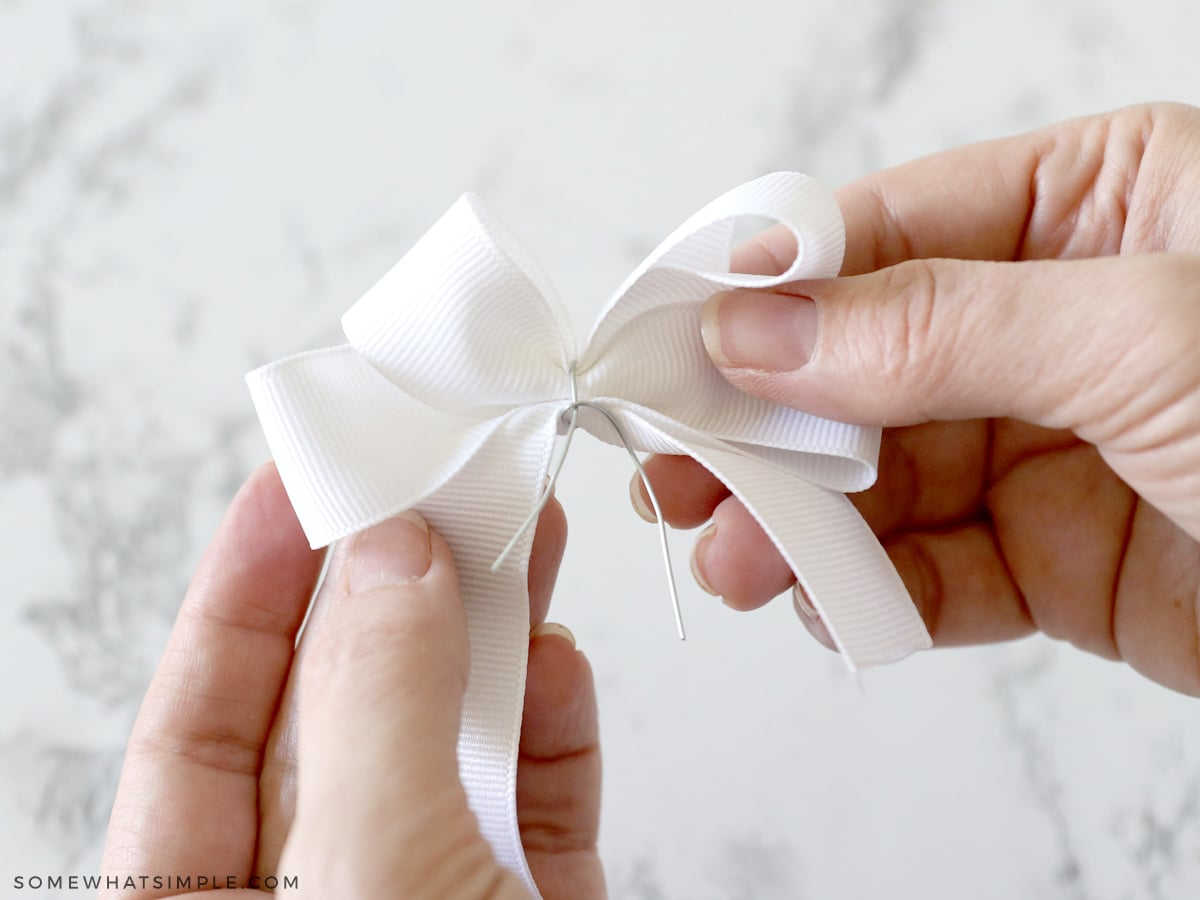 adding wire to ribbon hair bow