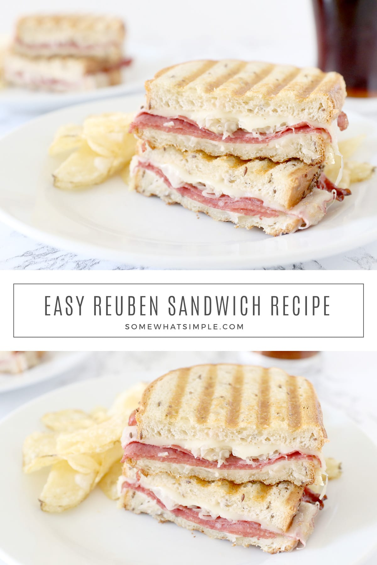 Slices of delicious rye bread piled high with corned beef, cheese, and tangy sauerkraut, topped off with thousand island dressing and grilled to perfection! This Reuben sandwich recipe is simple to make and tastes amazing! via @somewhatsimple