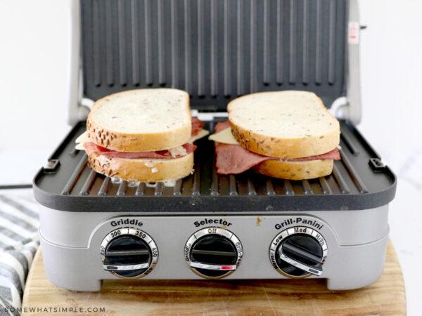 grilling a reuben sandwich