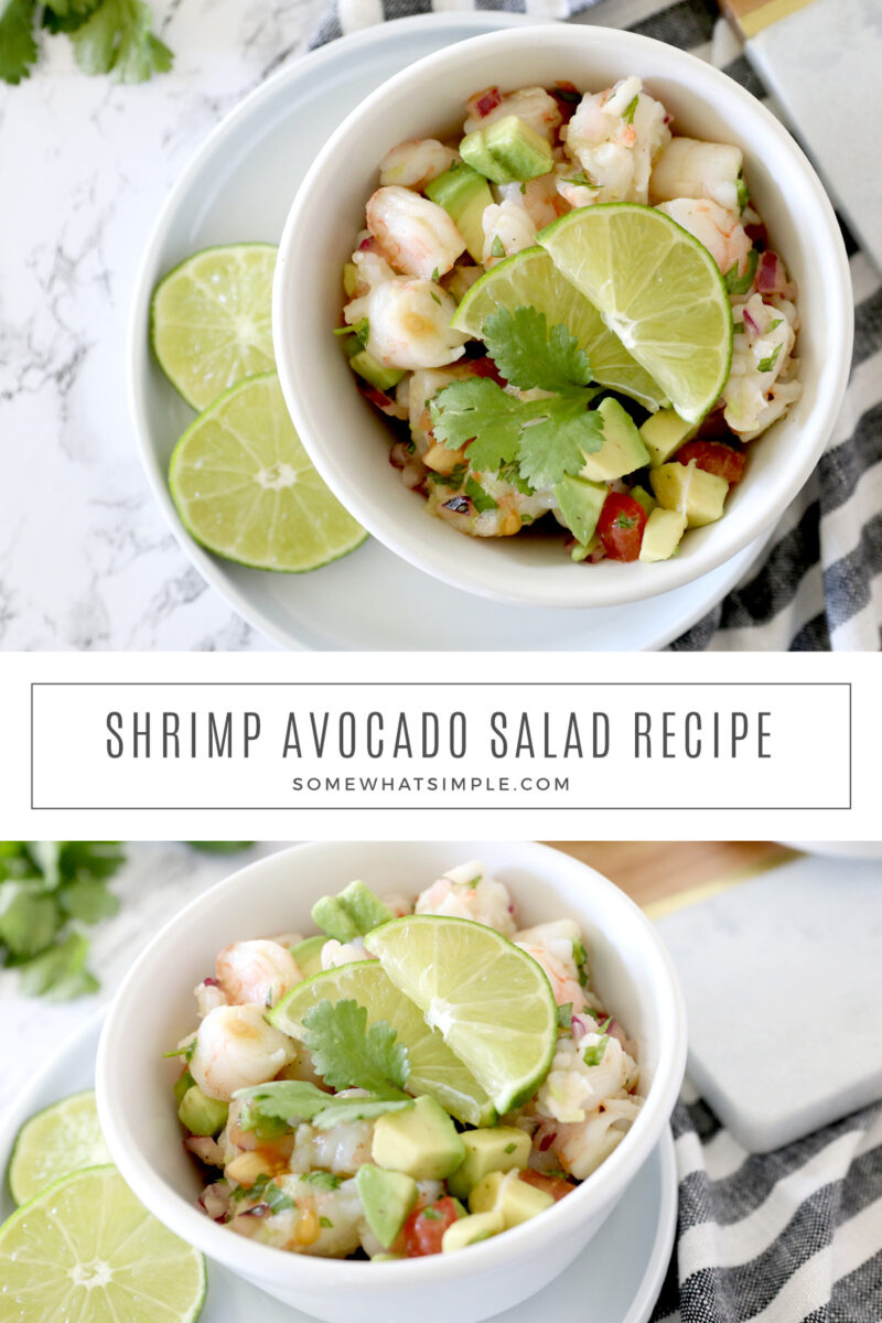 collage of pictures of shrimp avocado salad