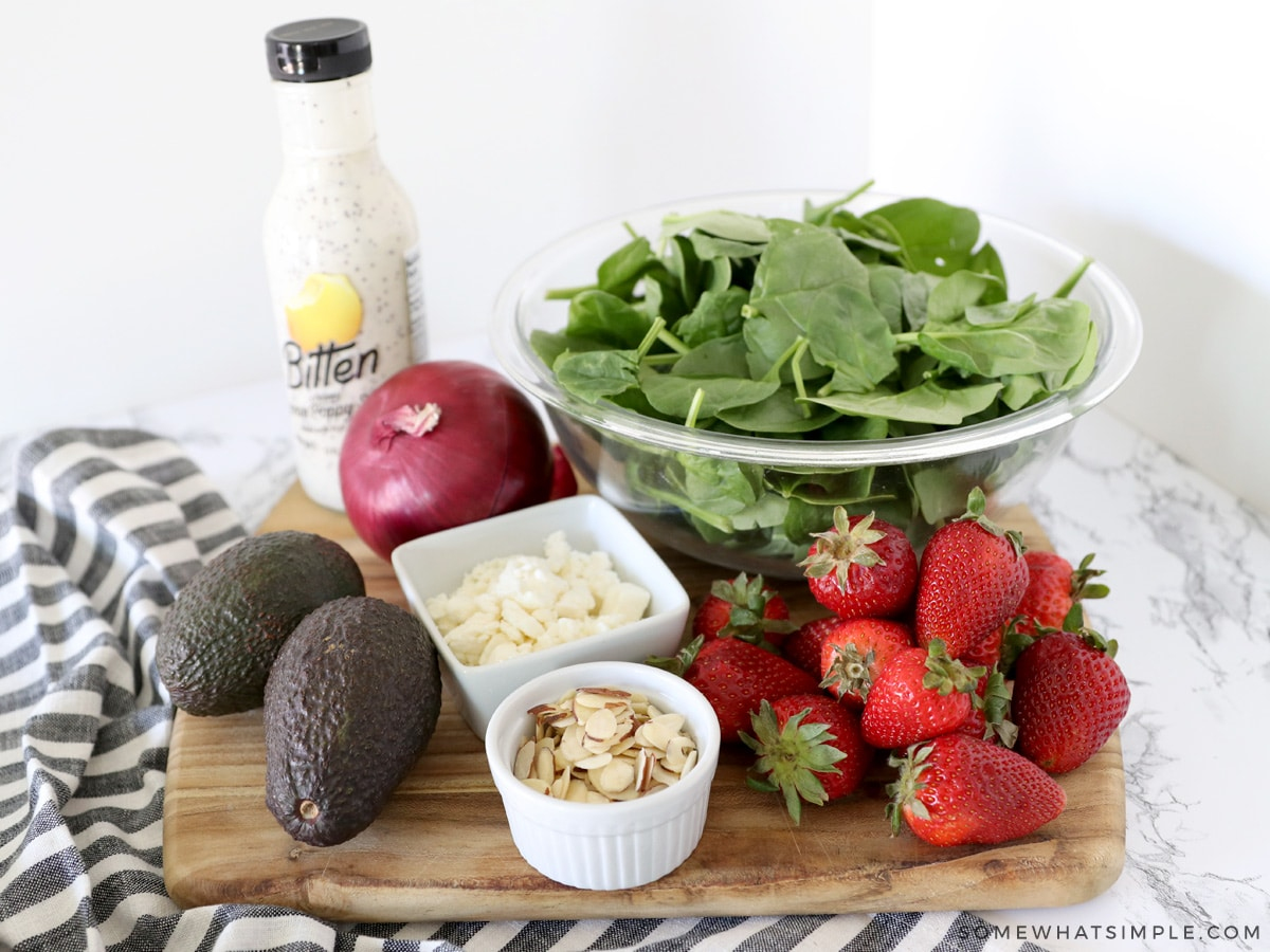 ingredients for a strawberry spinach salad
