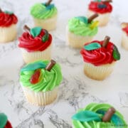 apple cupcakes decorated with candies