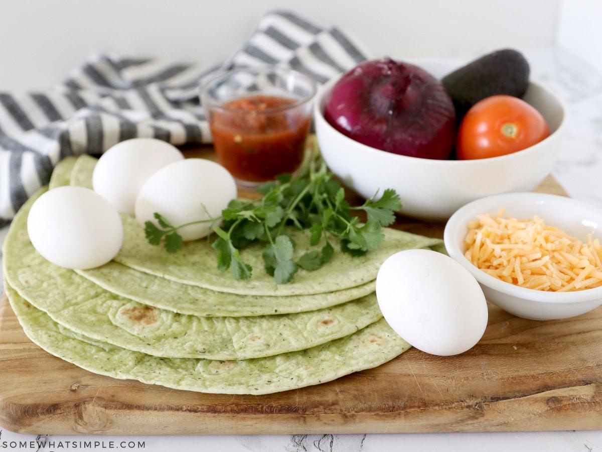 ingredients to make breakfast wraps