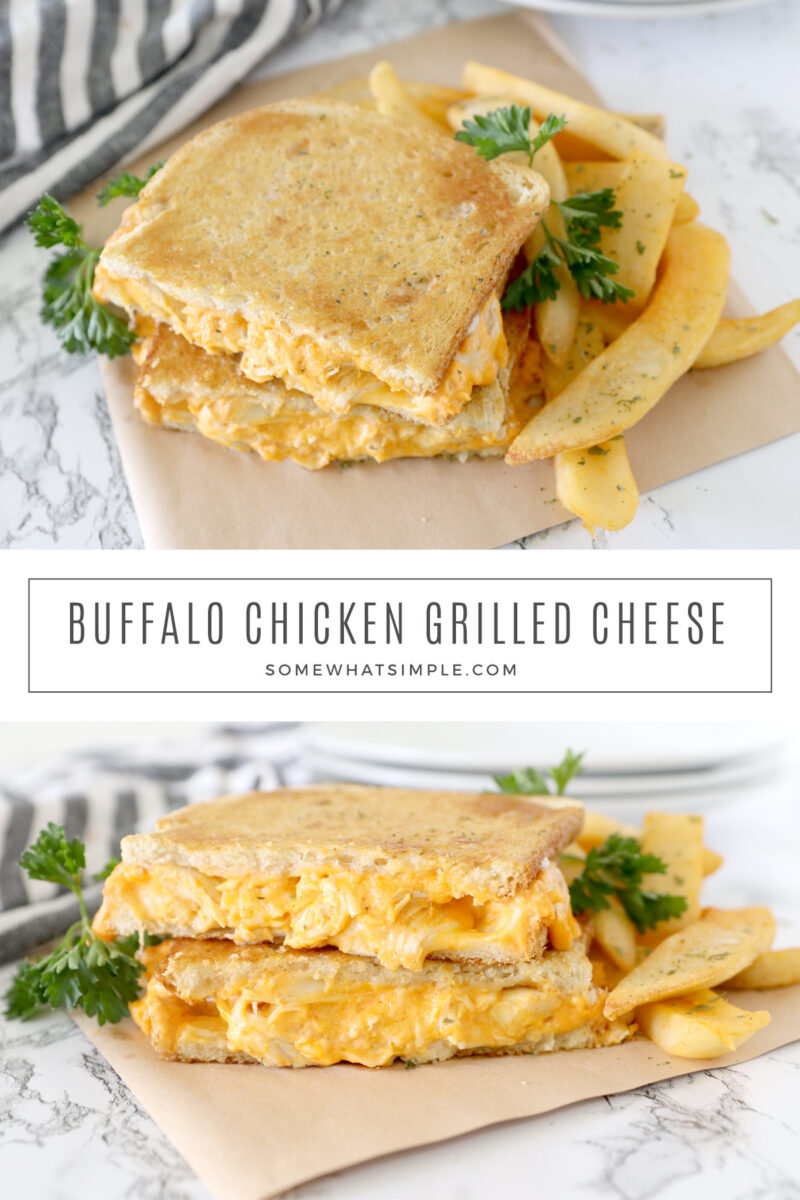 collage of images for buffalo chicken sandwiches