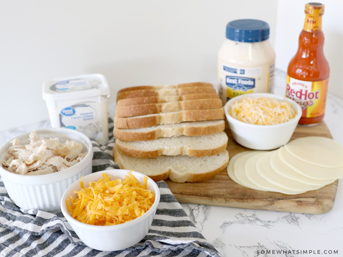 ingredients for Buffalo Chicken Grilled Cheese Sandwich