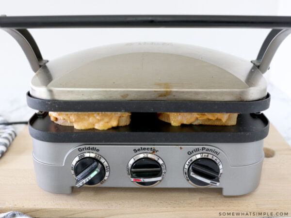 grilling a grilled cheese sandwich