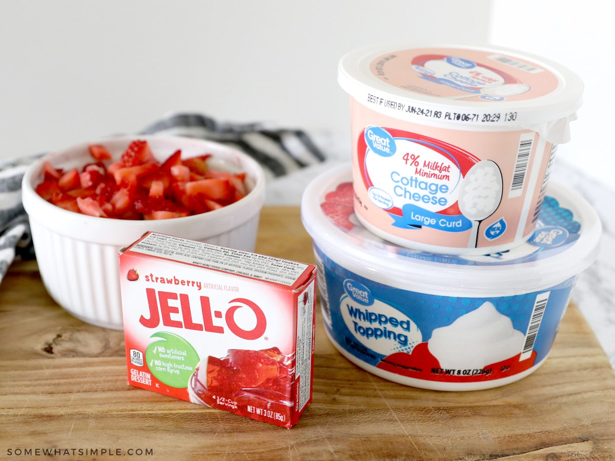 ingredients to make jello salad on a counter