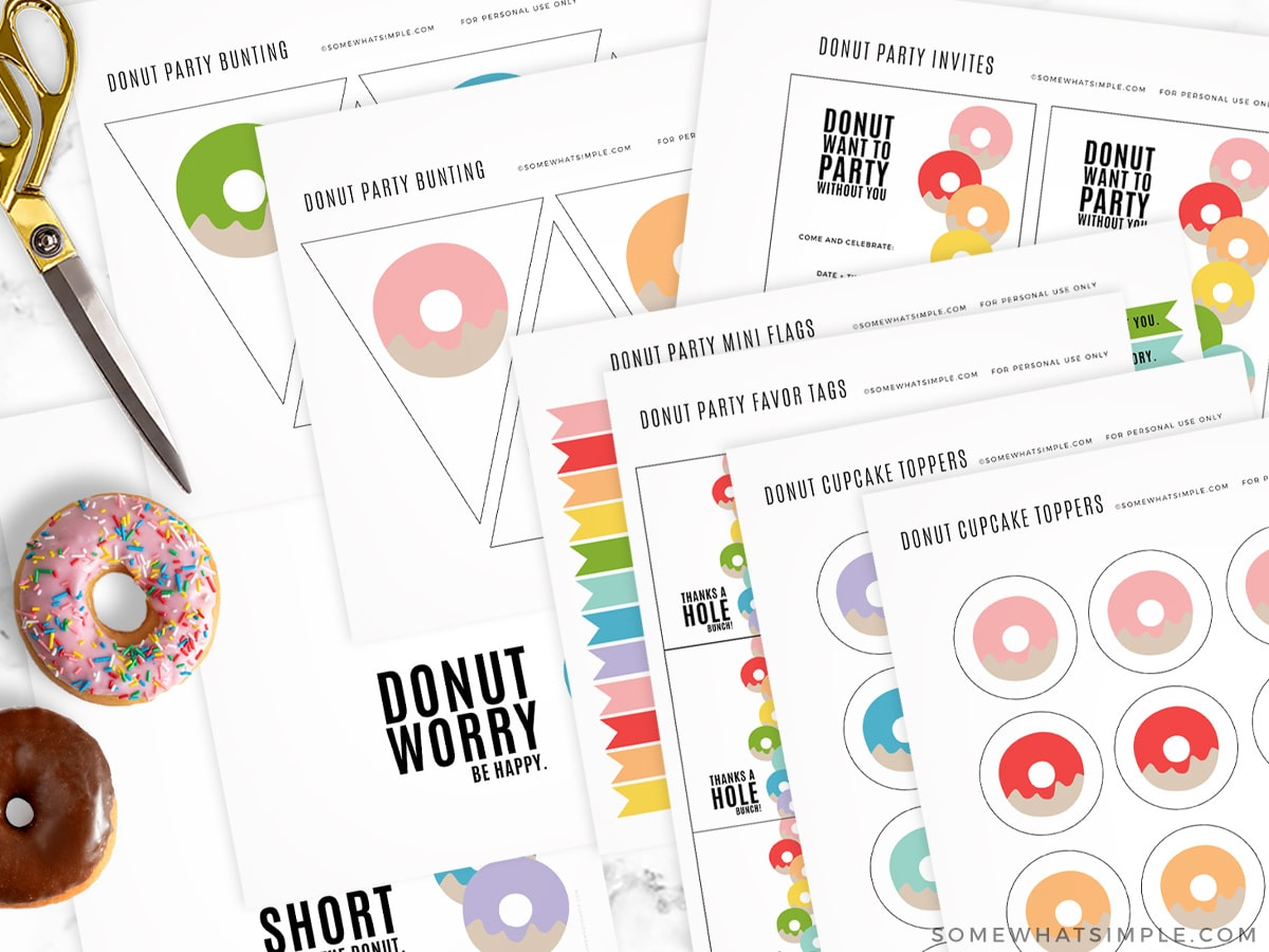 donut printable party pack