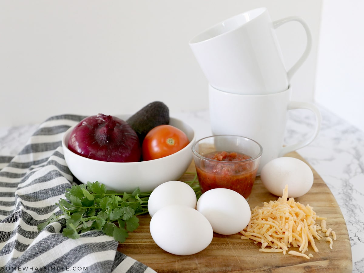 ingredients needed for eggs in a mug