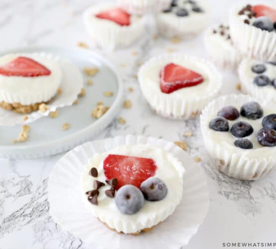 frozen yogurt granola cups on white counter