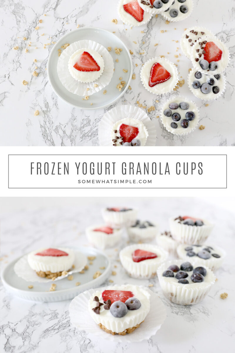 collage of images showing how to make frozen fruit parfaits