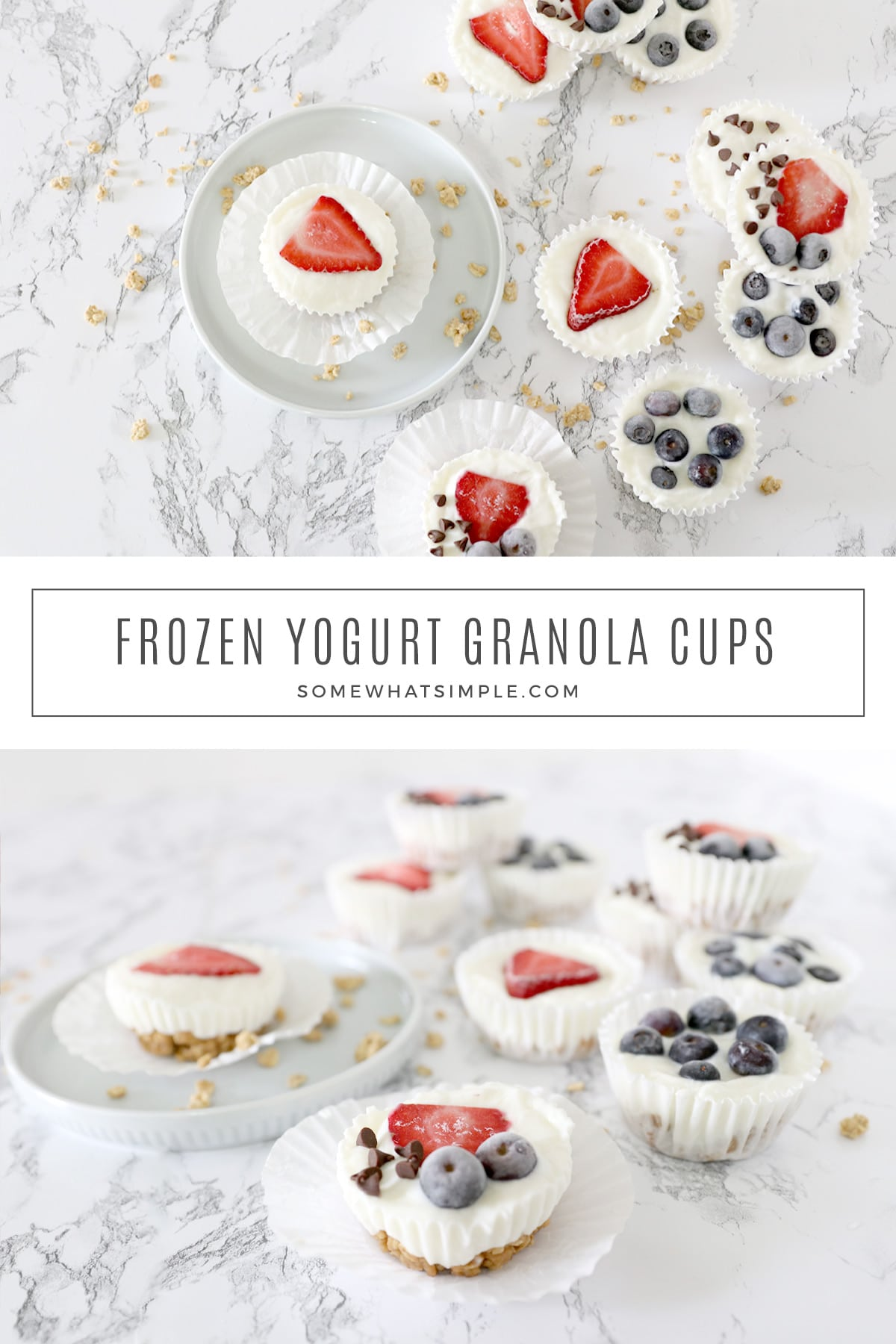 Frozen Yogurt Granola Cups are pretty to look at easy to make! Made with just 5 ingredients, these tasty little treats are a healthy breakfast, snack, or simple dessert! via @somewhatsimple