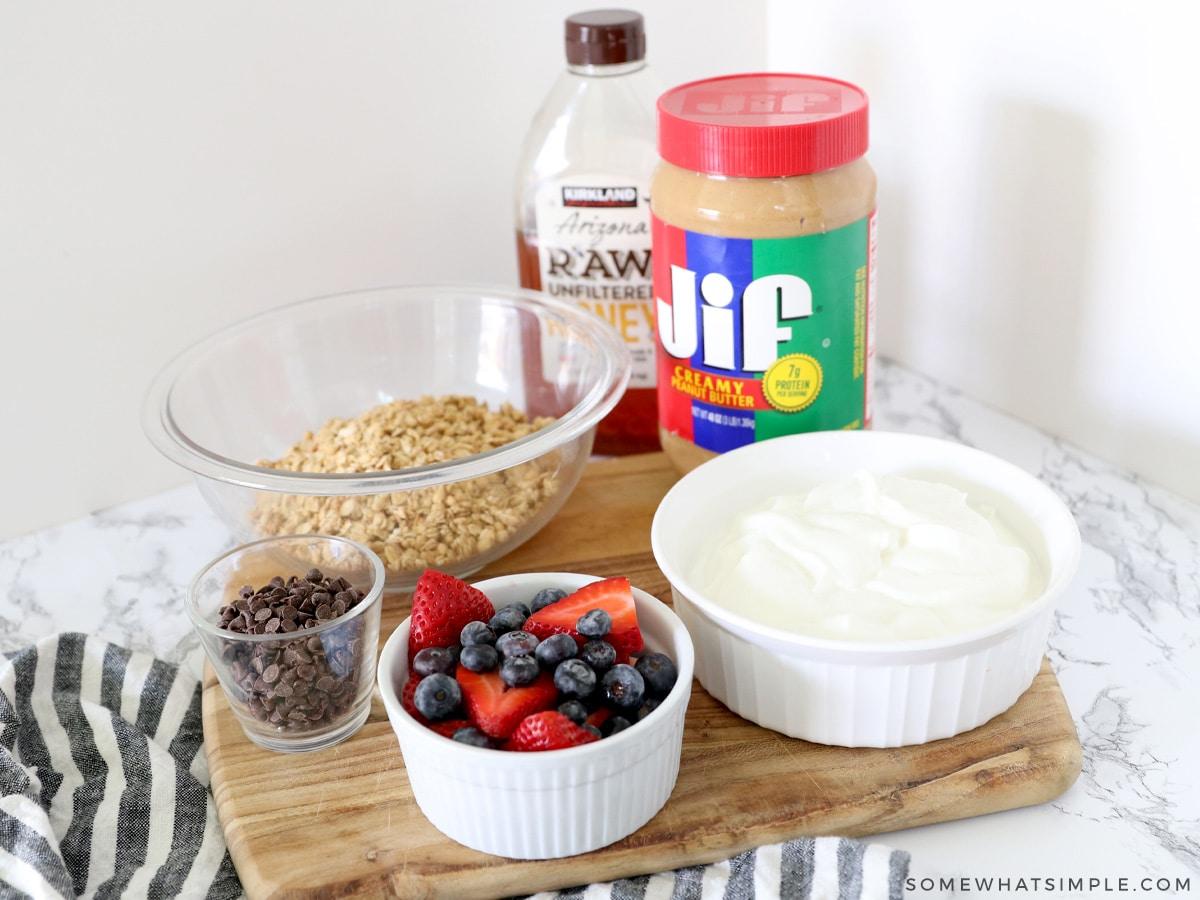ingredients for frozen yogurt granola cups