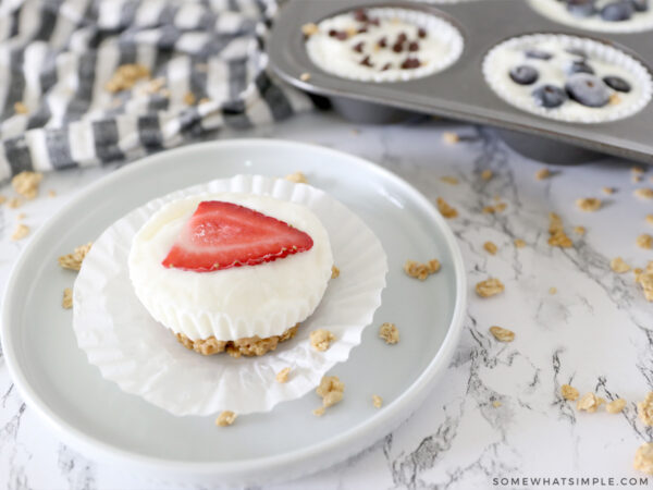 granola cupcakes with a strawberry heart