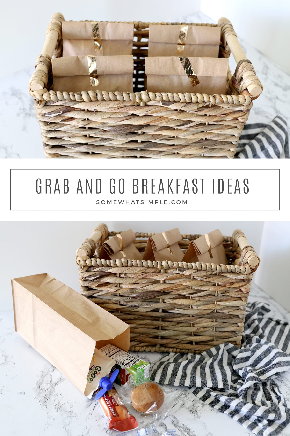 These grab and go breakfast bags are a fast and easy way to take some of the stress out of a busy morning. via @somewhatsimple