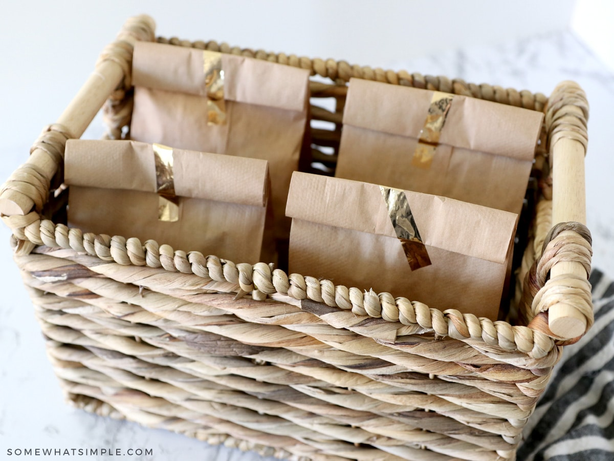 Grab and Go Breakfast Bags in a brown basket