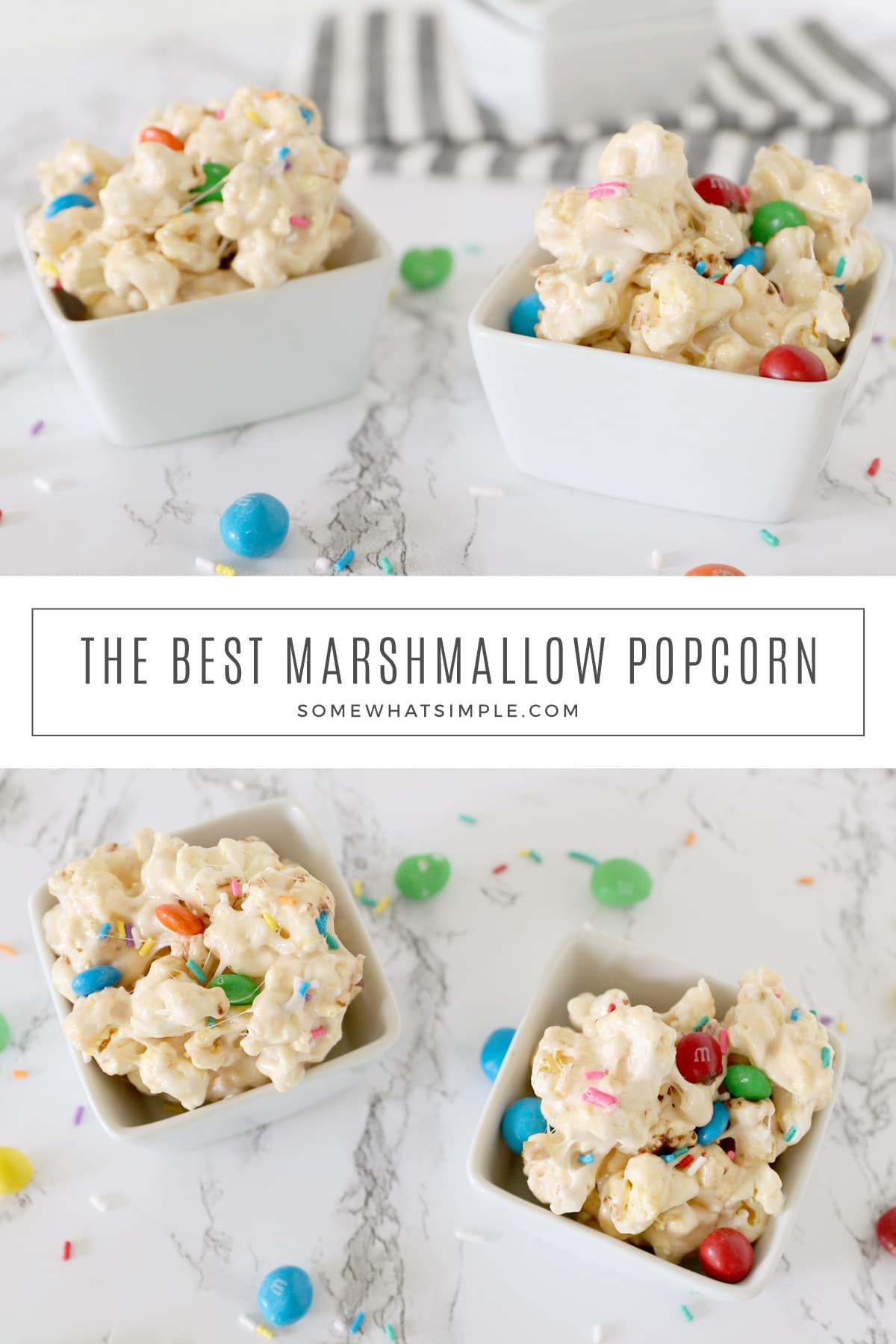 Marshmallow popcorn is easy to make and so delicious! This simple little treat is salty and sweet, and SO ADDICTING! (Don't say I didn't warn you!) This homemade marshmallow popcorn is an easy and delicious gourmet popcorn recipe that your family is guaranteed to love. via @somewhatsimple