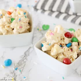 two cups of marshmallow popcorn