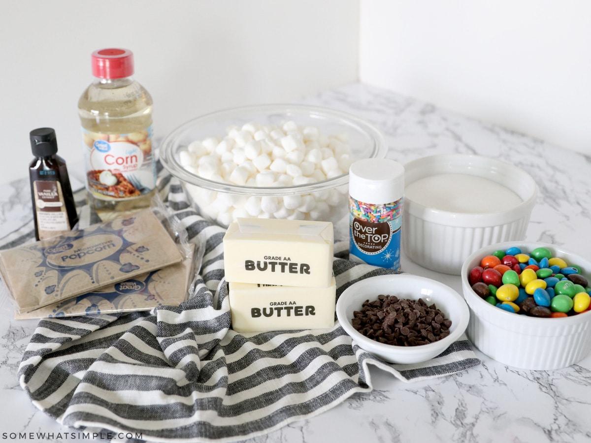 ingredients to make marshmallow popcorn