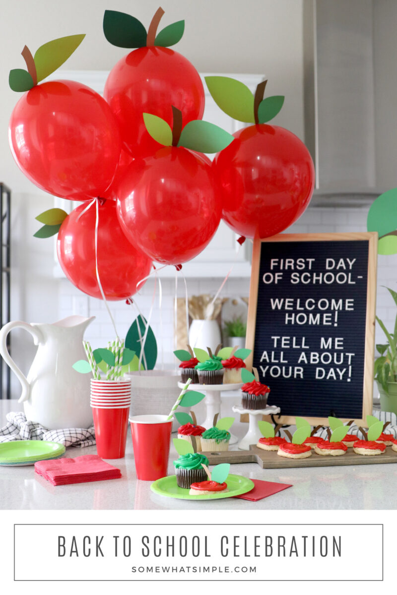 long image of a back to school party set up