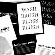 bathroom prints in black and white